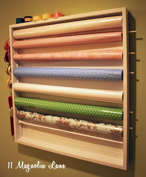 Sewing Room Gift Wrapping Room: DIY Wall-mounted Wrapping Station In Craft Room