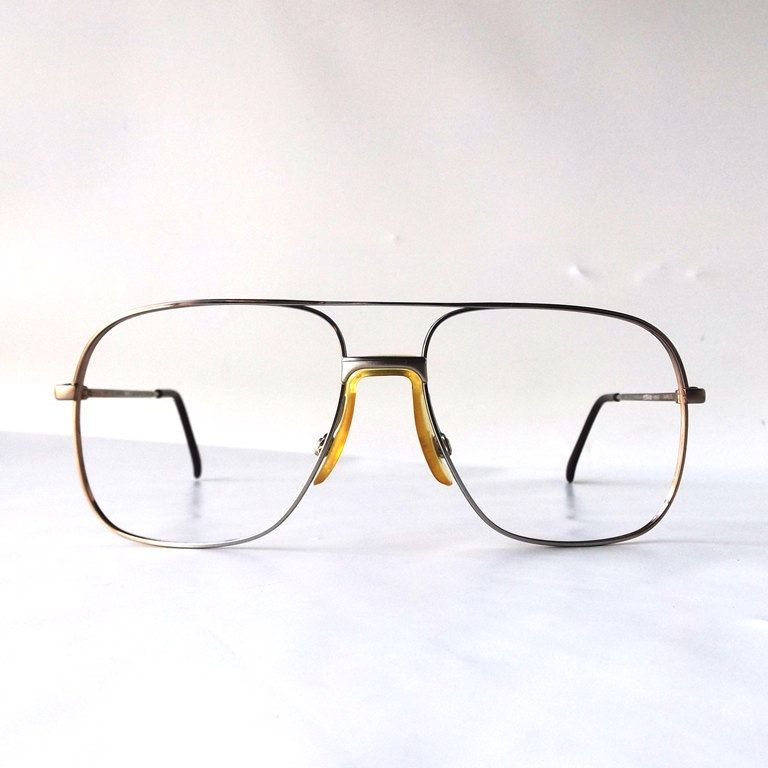 0e1820269e vintage 90 s NOS square eyeglasses metal silver taupe frames modern retro  eye glasses eyewear nerd geek double bridge oversized big large by ...