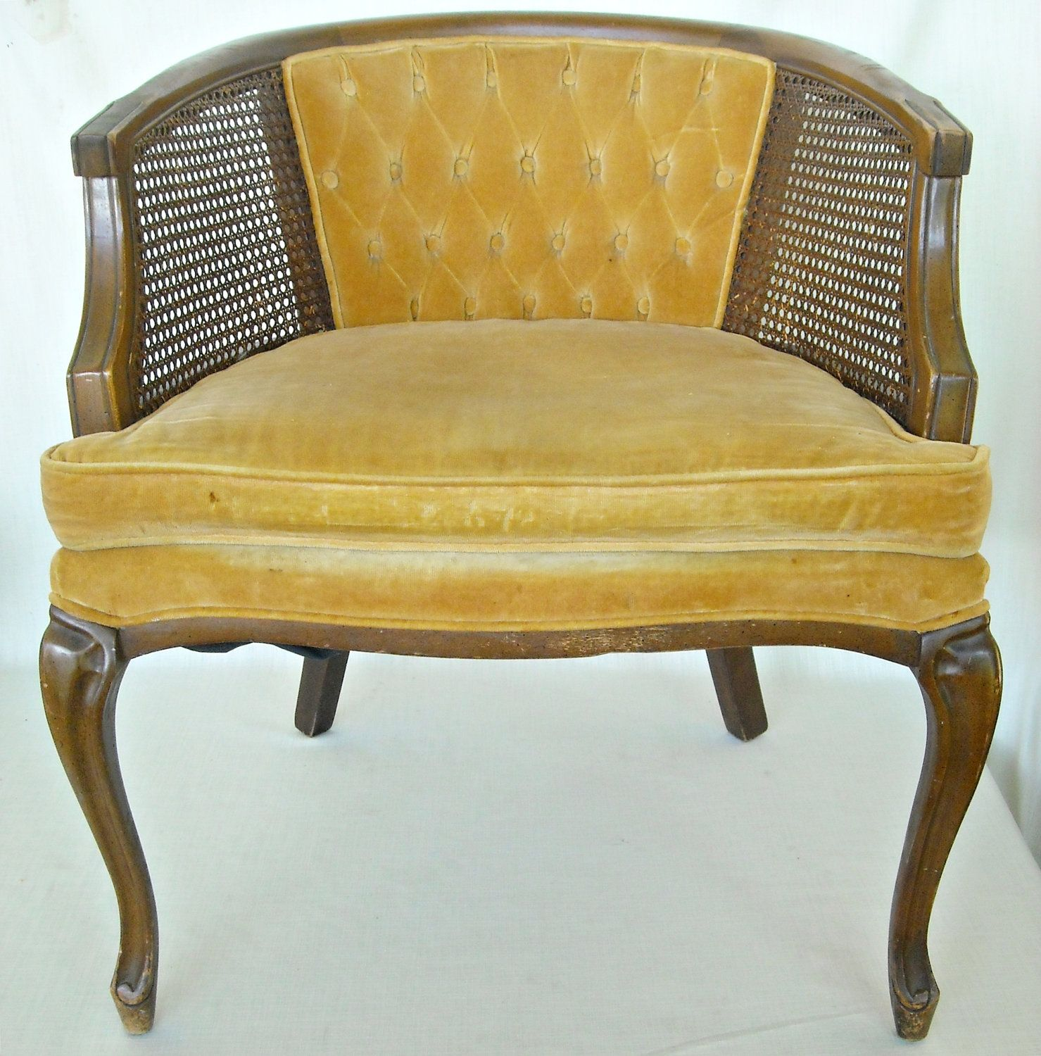 Mid Century French Cane Chair Barrel Back Hollywood