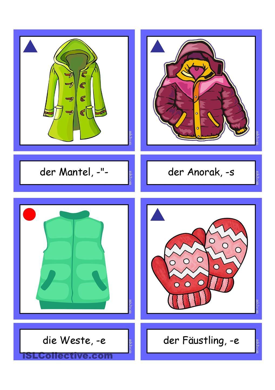 Flashcards_ Winterbekleidung _mittel | German, Learn german and Language