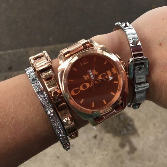 Coach rose gold large logo face watch Brand new with $275 tags. Comes in original Coach box with authenticity and warranty booklet. I love the large face of this watch and the classic 'Coach' logo on it. Rose gold is totally in and it looks beautiful layered with bracelets! Coach Accessories Watches
