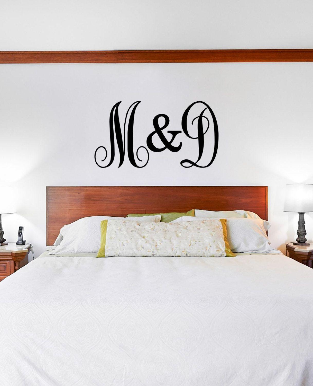 Custom Initials Vinyl Decal Vinyl Lettering Wall Art Decal - Custom vinyl lettering wall decals