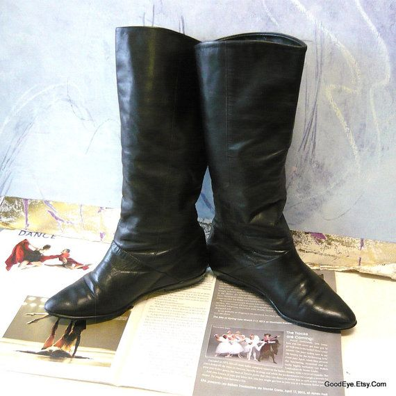 d79130144514 Vintage Flat Leather Slouch Boots size 5 .5M Eur 37 UK by GoodEye ...