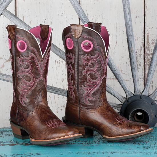 Ariat Pink And Brown Boots - Boot Hto