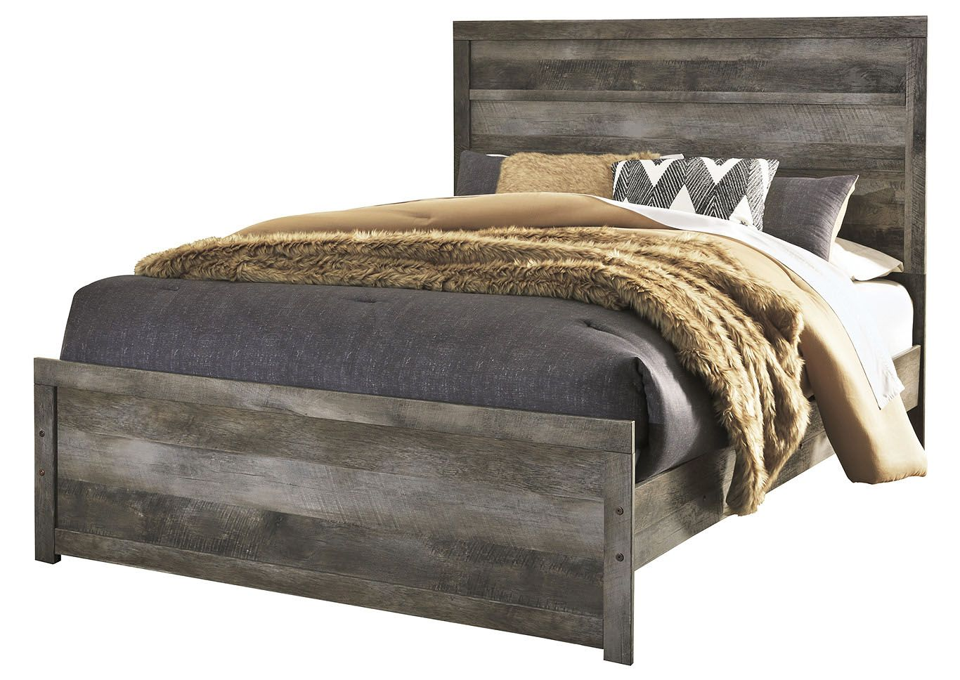 Shop for Wynnlow Gray Rustic Queen Panel Bed starting at