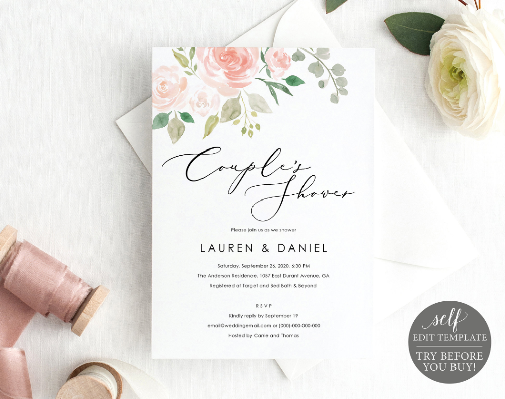 Cvs Bridal Shower Invitations Lovely Couples Shower Invitation Template Editable Download Pink Blush Floral Try Before You Buy Wedding Shower Invite Printable