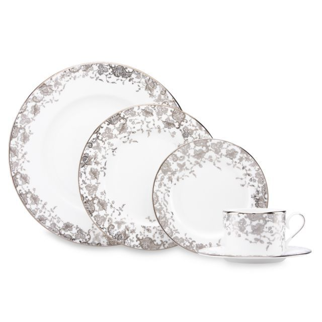 French Lace Pattern China. Platinum and white