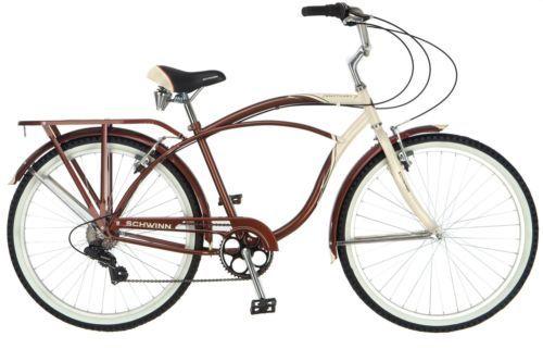 Schwinn Men S 7 Speed Cruiser Bicycle 26 In Wheels Biking Cycling Bike Cruising Cruiser Bicycle Cruiser Bike Beach Cruiser Bikes