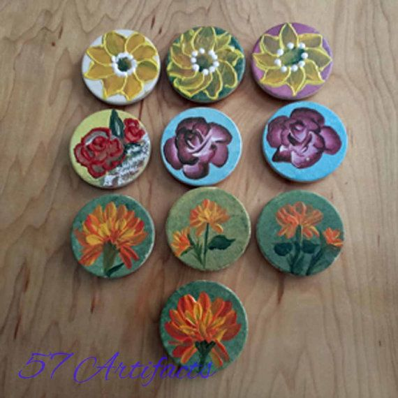 1.5 inch FLOWER MAGNETS  - Colorful, Whimsical magnets for your fridge - Great Stocking Stuffer by 57artifacts. Explore more products on http://57artifacts.etsy.com