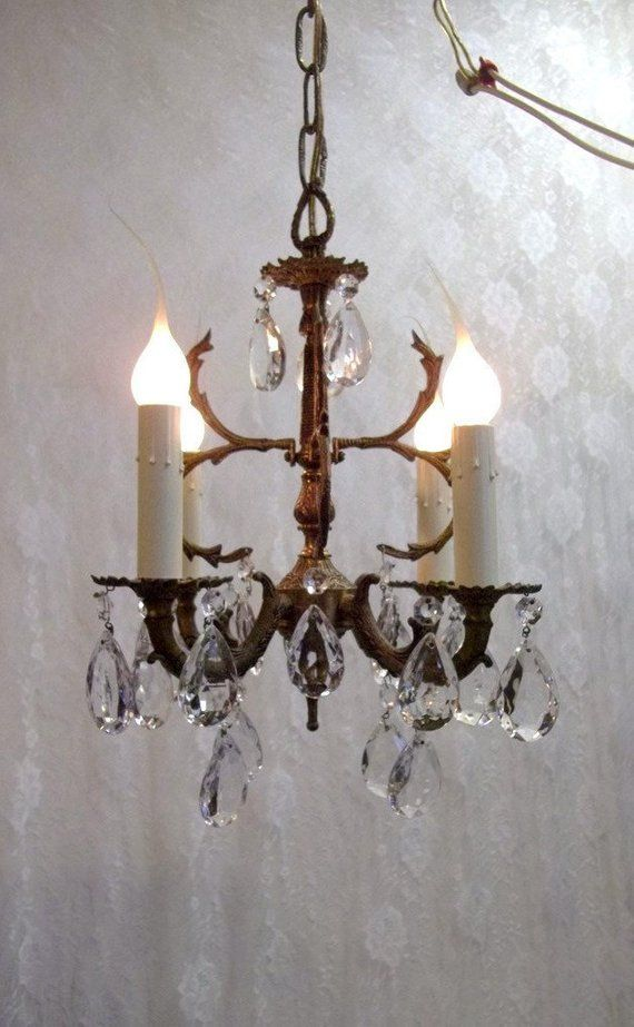 Four Light Petite Brass Crystal Chandelier Small ...