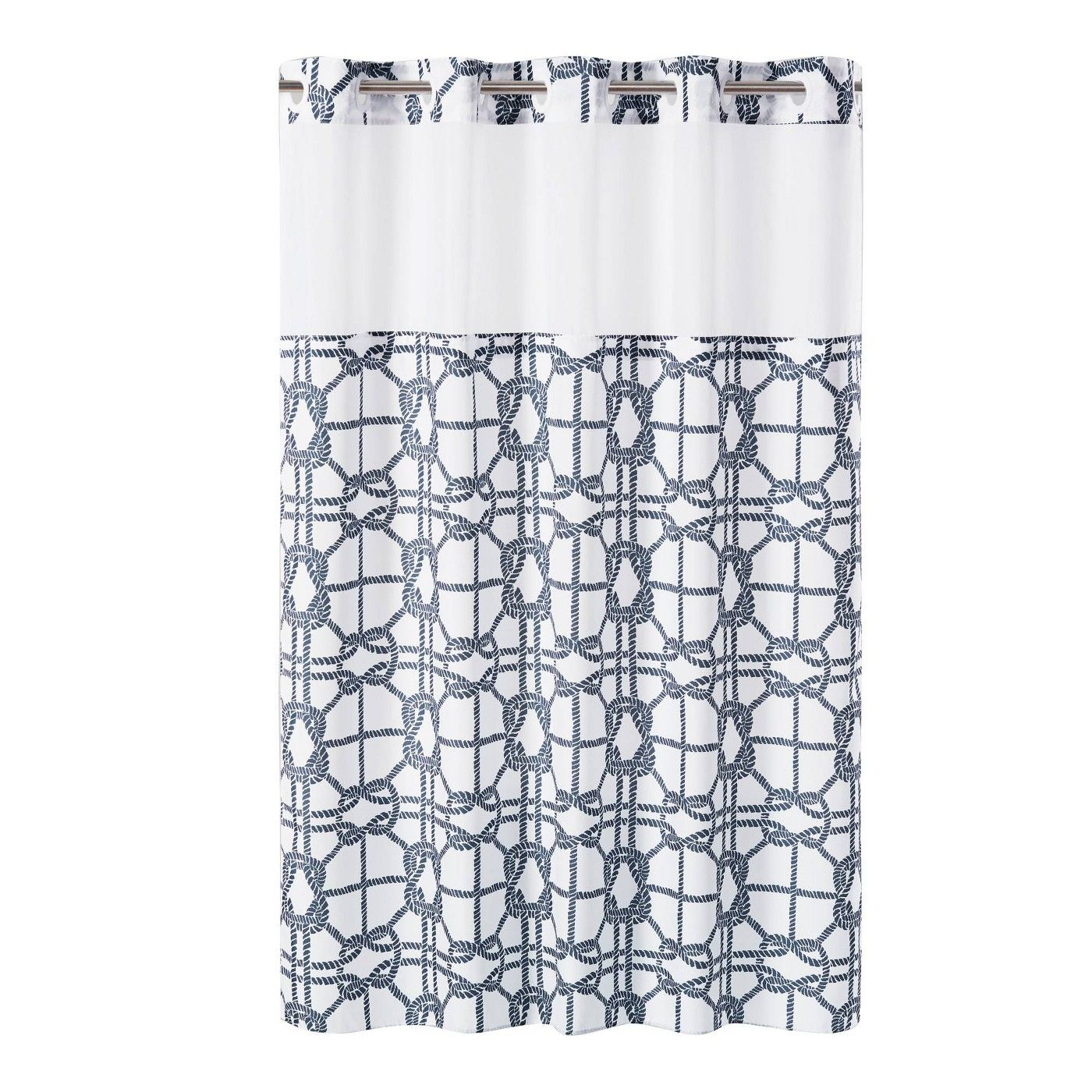 Nautical Lattice Shower Curtain With Liner Navy Hookless Adult