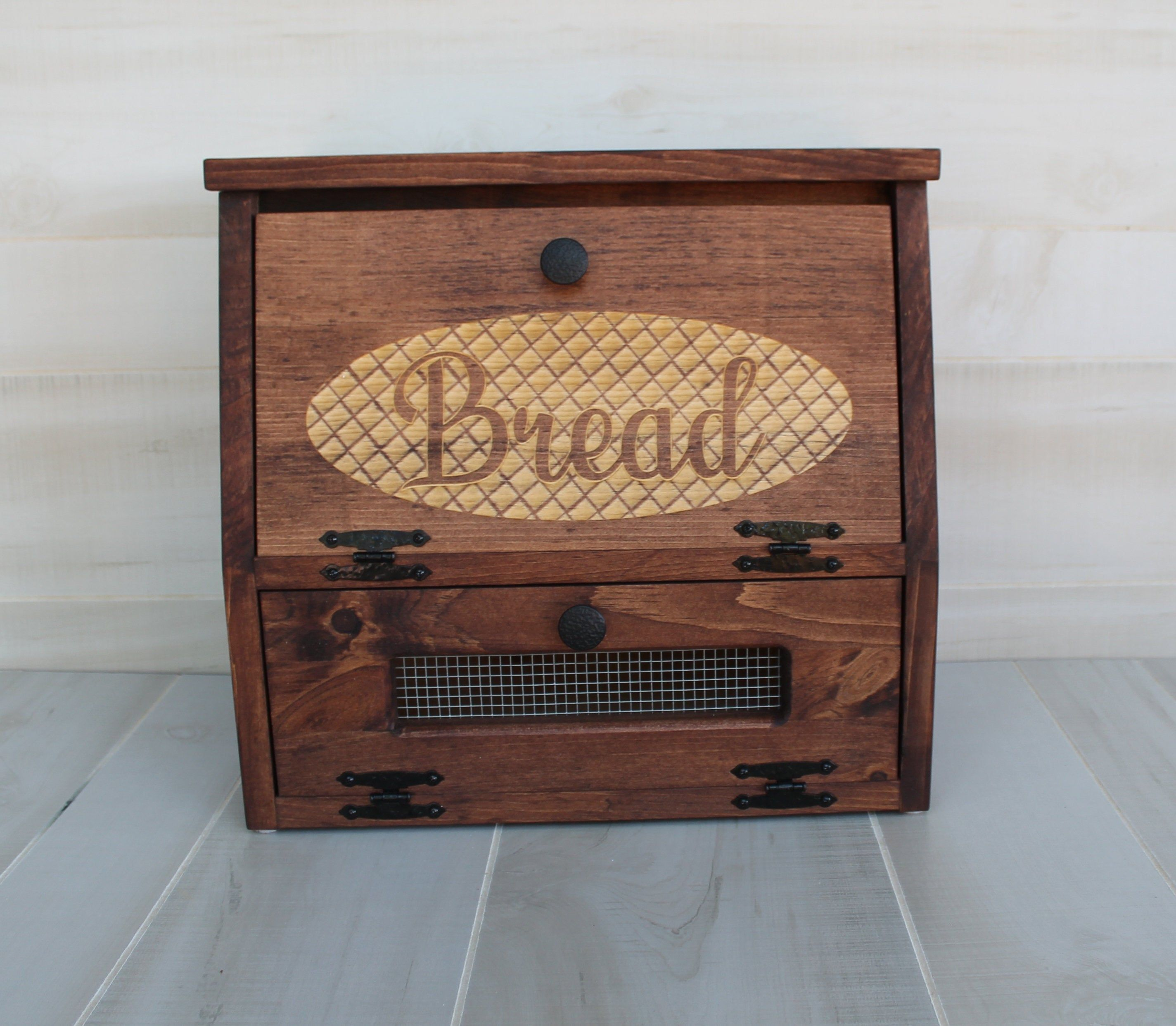 Farmhouse Bread Box Vegetable Bin Rustic Wooden Engraved Storage