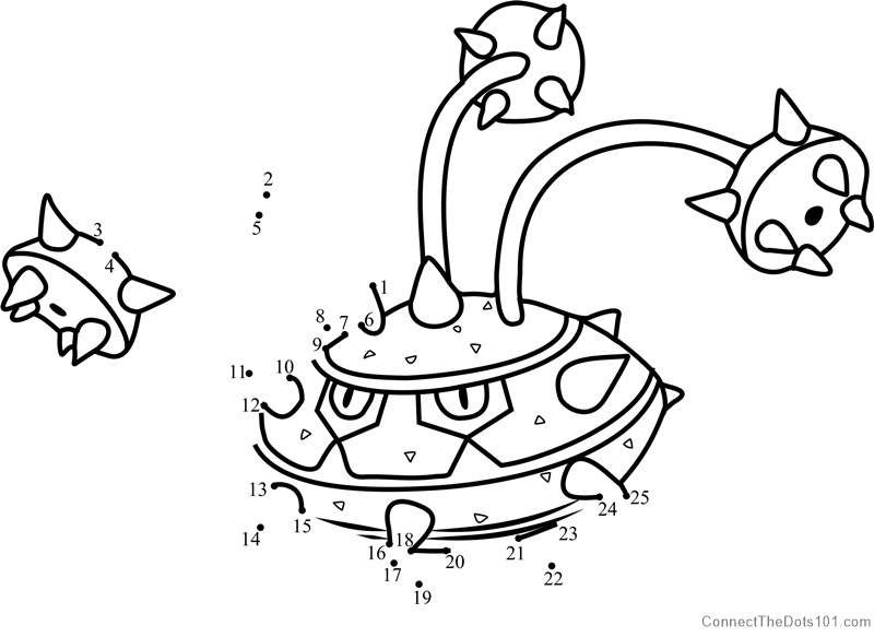 Pokemon Ferrothorn dot to dot printable worksheet - Connect The Dots ...