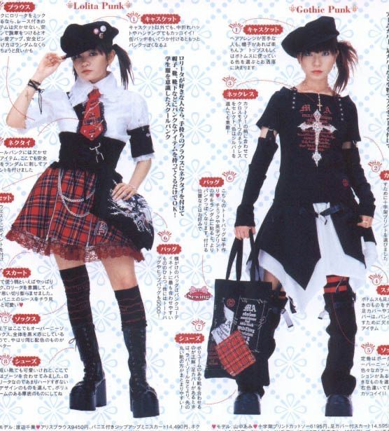 two apanese girls dressed in gothtic punk fashion.