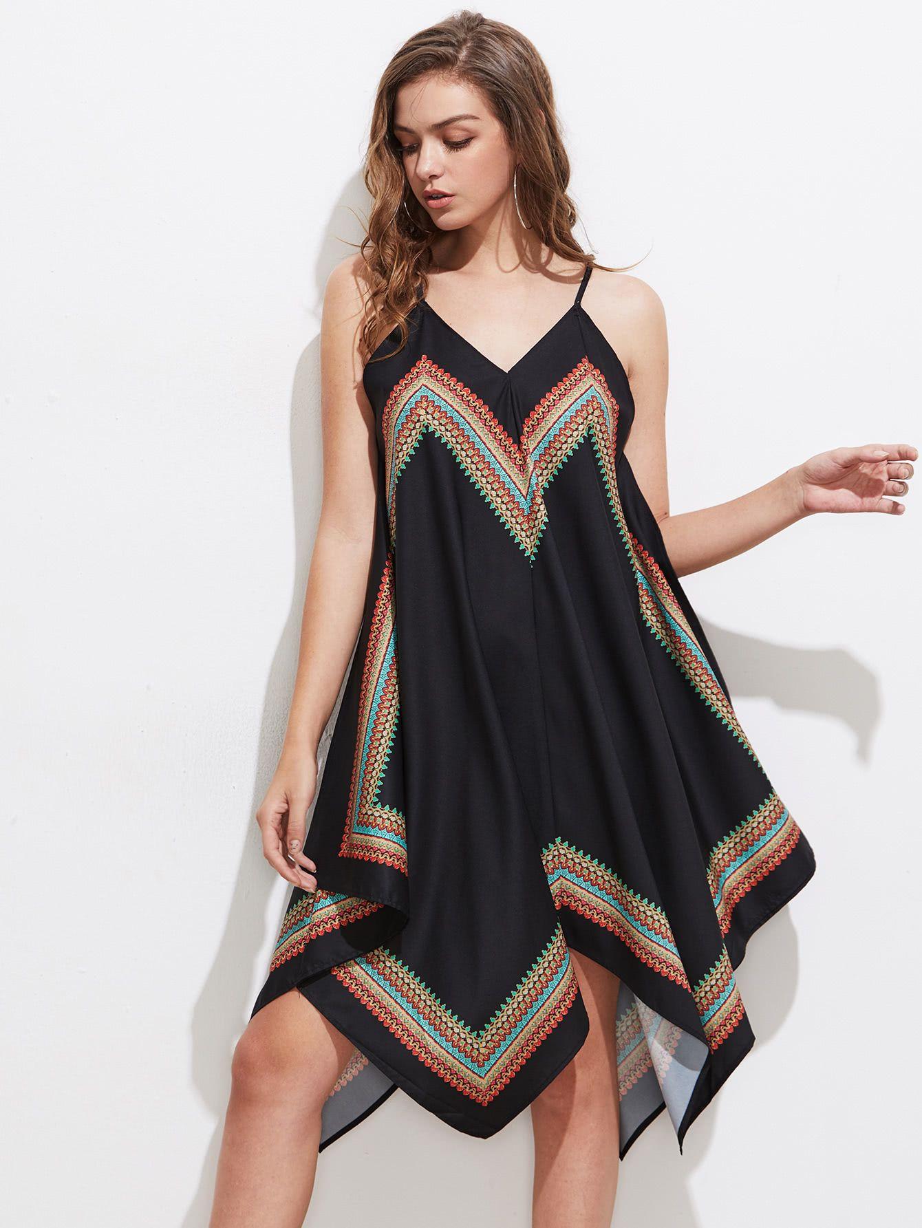 Tribal Print Asymmetrical Cami Dress  cea249b40