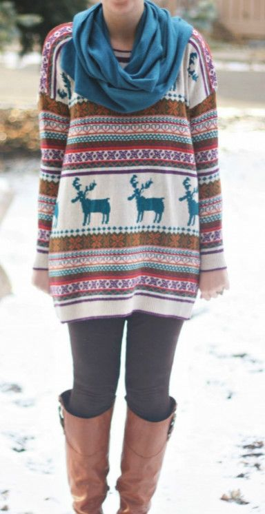 Nordic Print Oversized Knitted Fair Isle Sweater - AZBRO.com ...