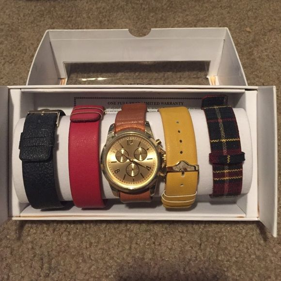 9fe3797903 Band colors (left to right): black, red, brown, mustard, red and black  plaid. Willing to negotiate on price ALDO Accessories Watches