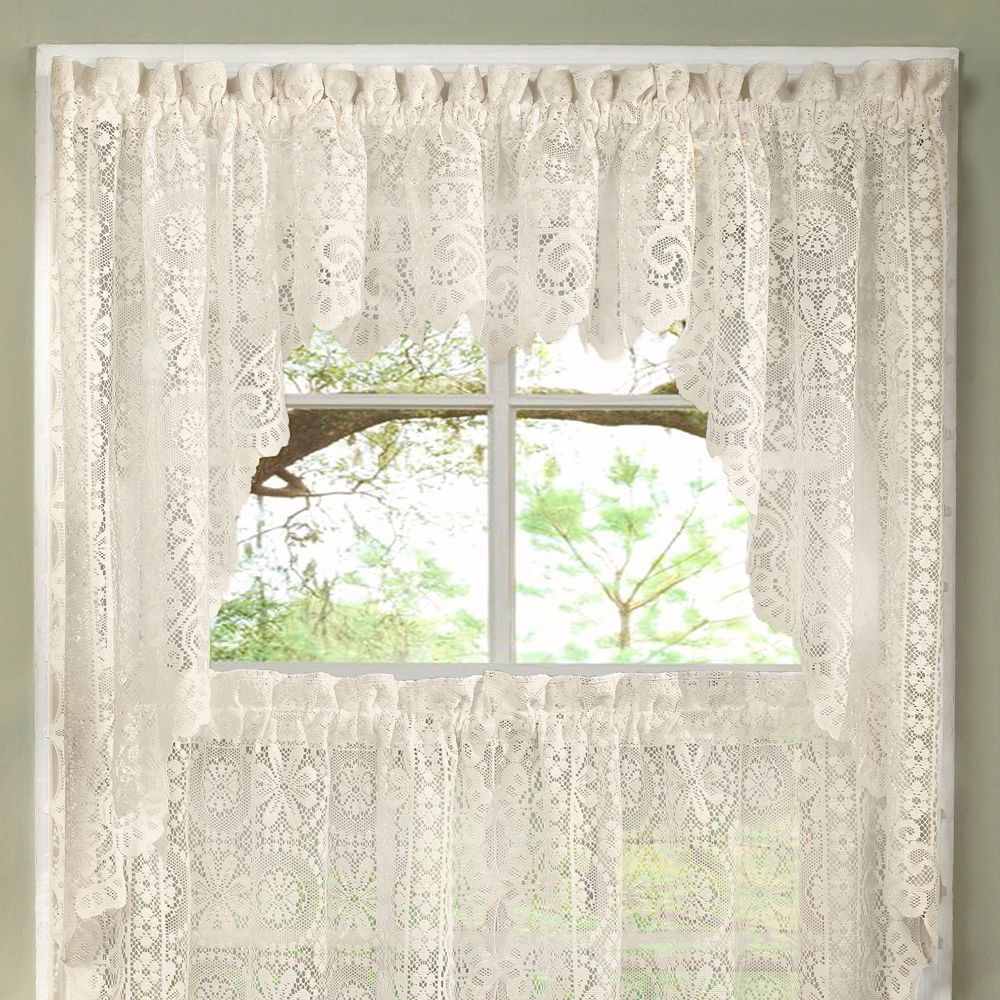 Luxurious Old World Style Lace Kitchen Curtains Tiers And Valances In Cream Kitchen Window Curtains Shabby Chic Kitchen Kitchen Curtains