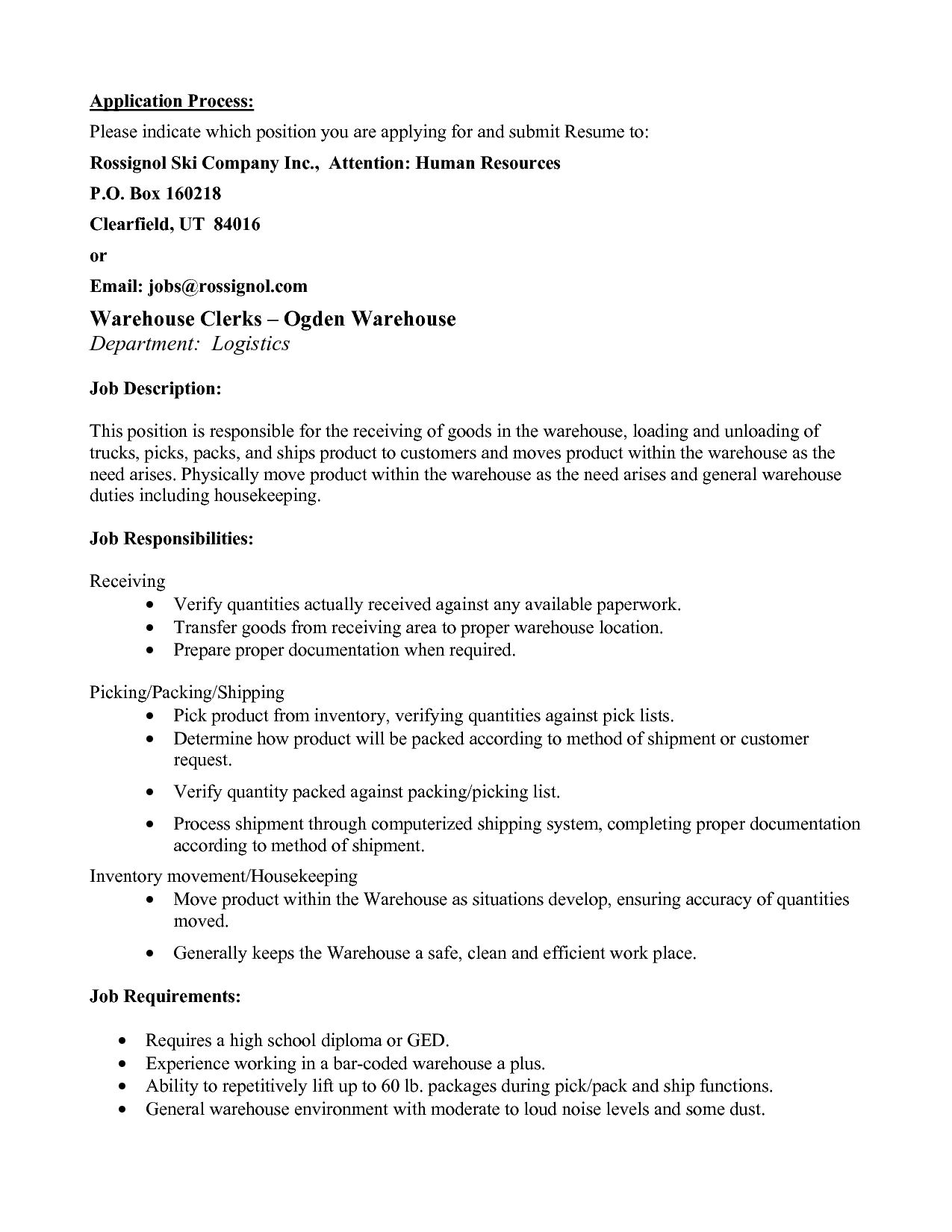 resume example format in 2020 Warehouse jobs, Resume