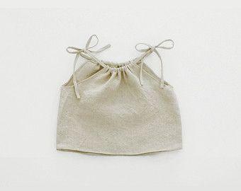 Natural Linen Top, Girl Boho Top, 100% Linen, Children Linen Shirt, 6months - 5T, Girls Natural Photo Prop