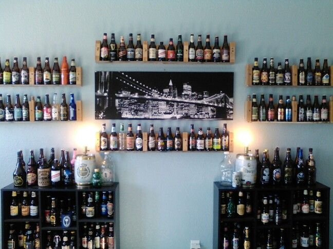 easy way to display your beer bottles man cave decor pinterest
