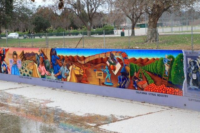The Great Wall of Los Angeles was created in 1976 to show the history of Latino culture in California. 1970s.