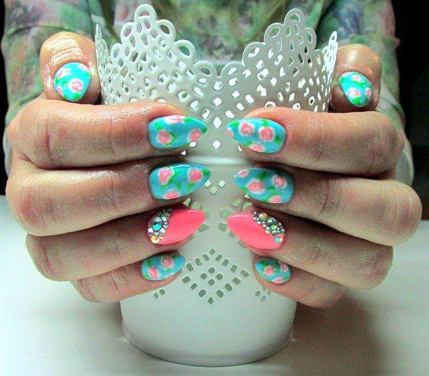 cute nails, fashion, floral nails, girly, nail art, pastel nails, - Cute Nails, Fashion, Floral Nails, Girly, Nail Art, Pastel Nails
