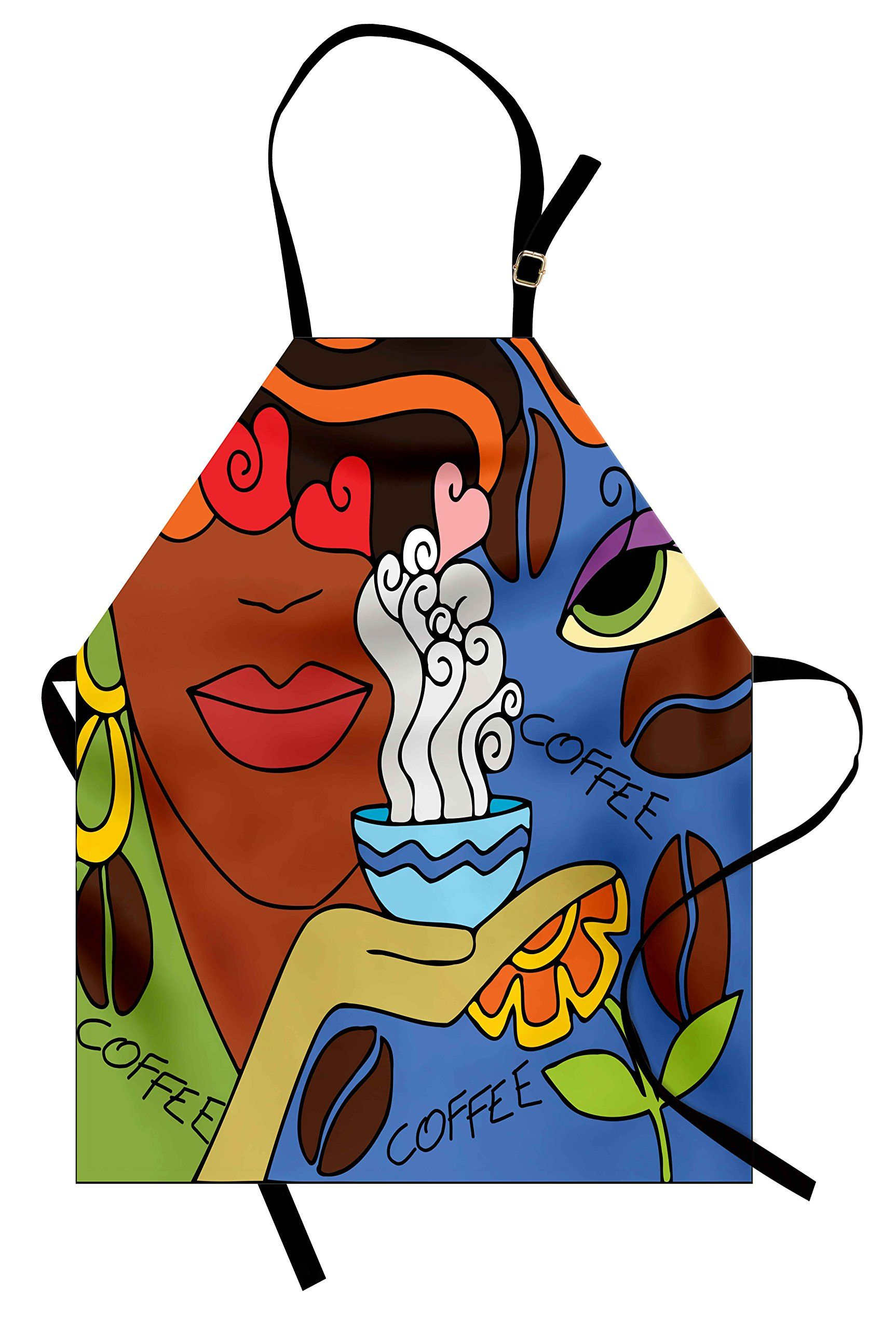 819132ec3d15 Coffee Apron by Lunarable Abstract Cartoon with Face of A Lady ...