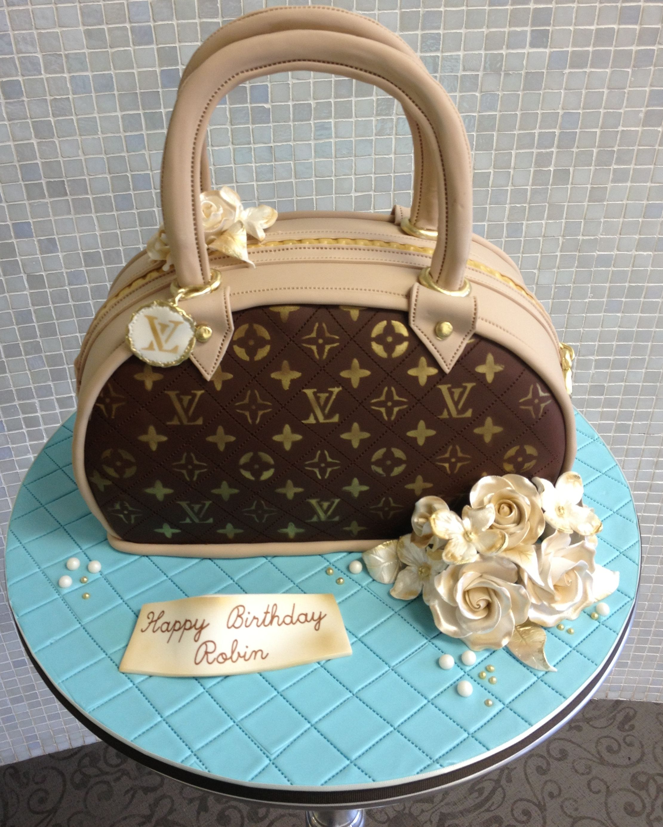Superb Louis Vuitton Purse Cake Louis Vuitton Cake Handbag Cakes Personalised Birthday Cards Veneteletsinfo