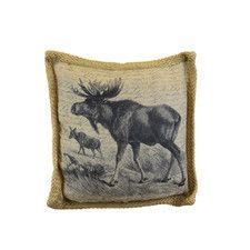 Moose Burlap Cotton Throw Pillow