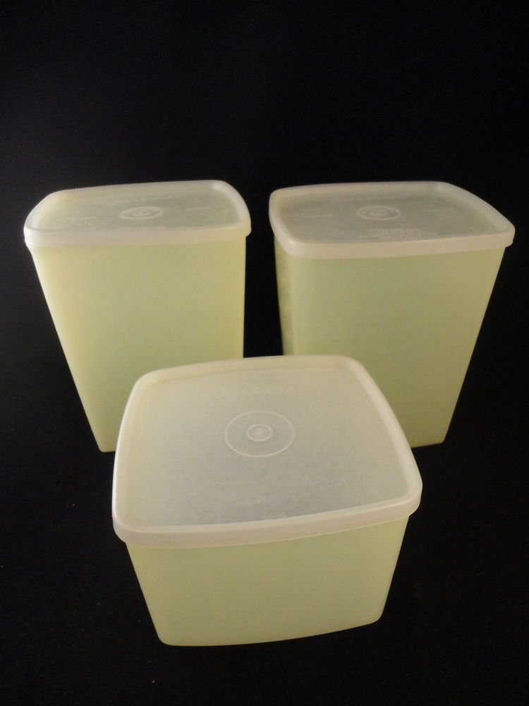 3 vintage pastel yellow tupperware containers vw campervan