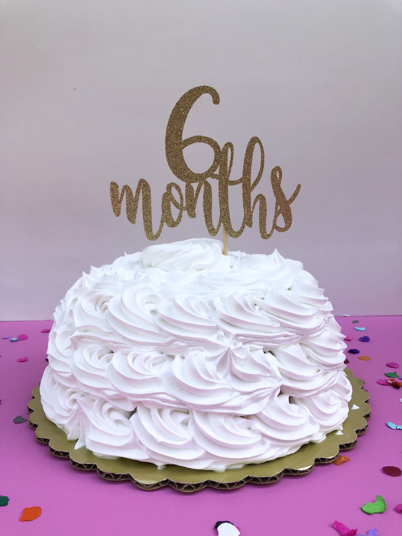 6 Months Cake Topper 1 2 Birthday Glitter Smash Month Photography Prop Sparkly Half By PrettyCuteCuts