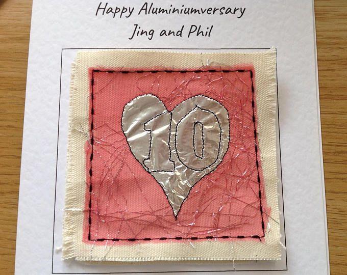 Tenth wedding anniversary card. 10th aluminium, tin anniversary for ...