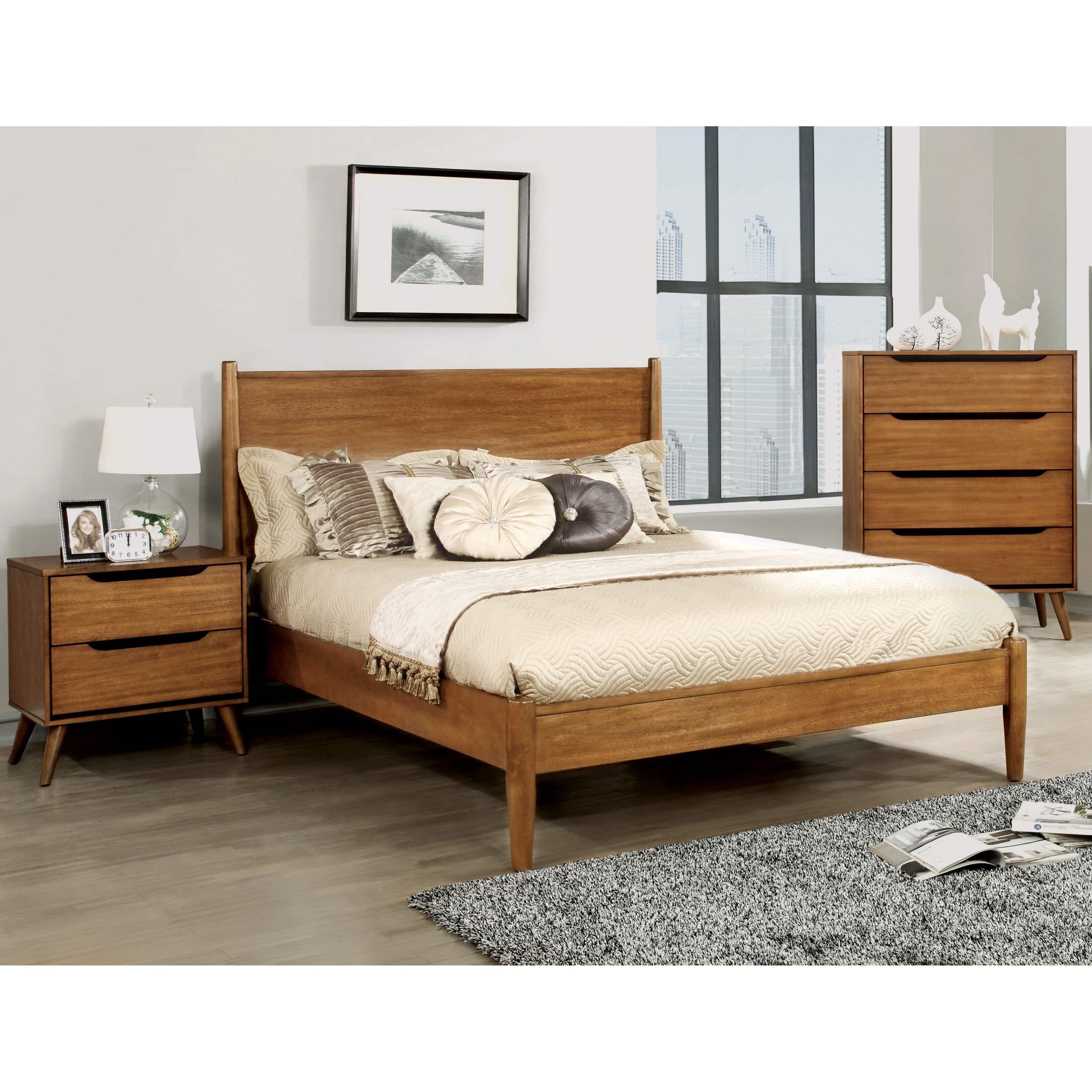 furniture of america corrine mid century modern oak 3 piece bedroom set king brown size eastern king