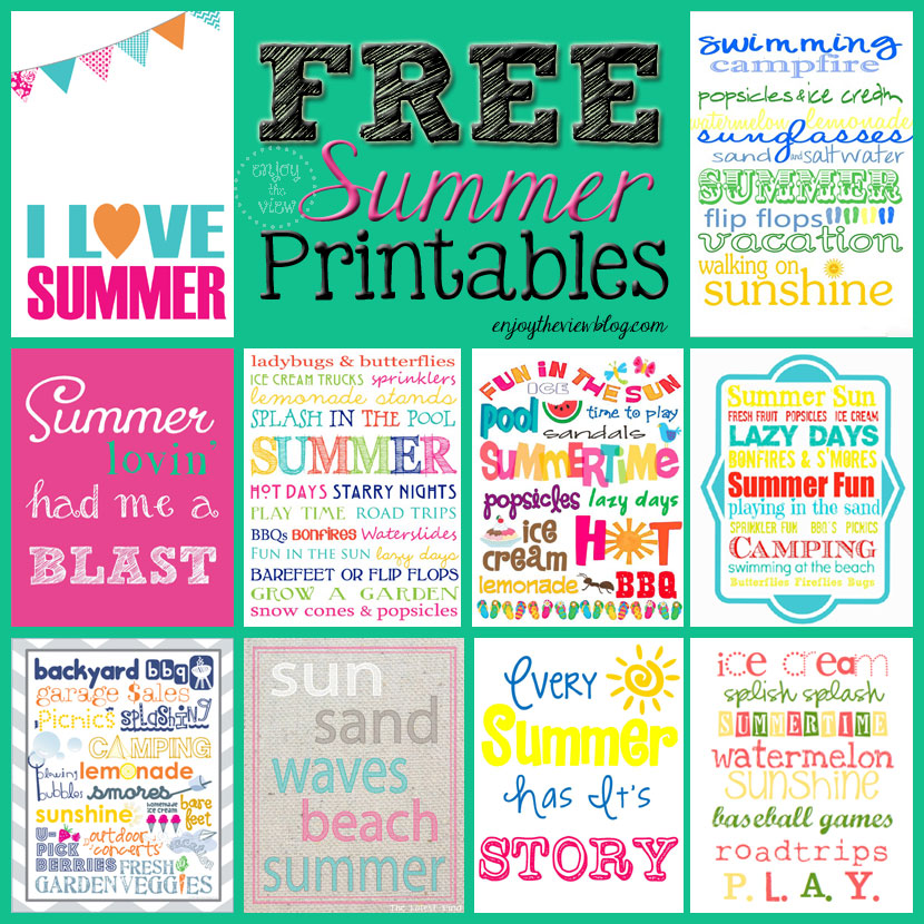 Roundup of free summer printables
