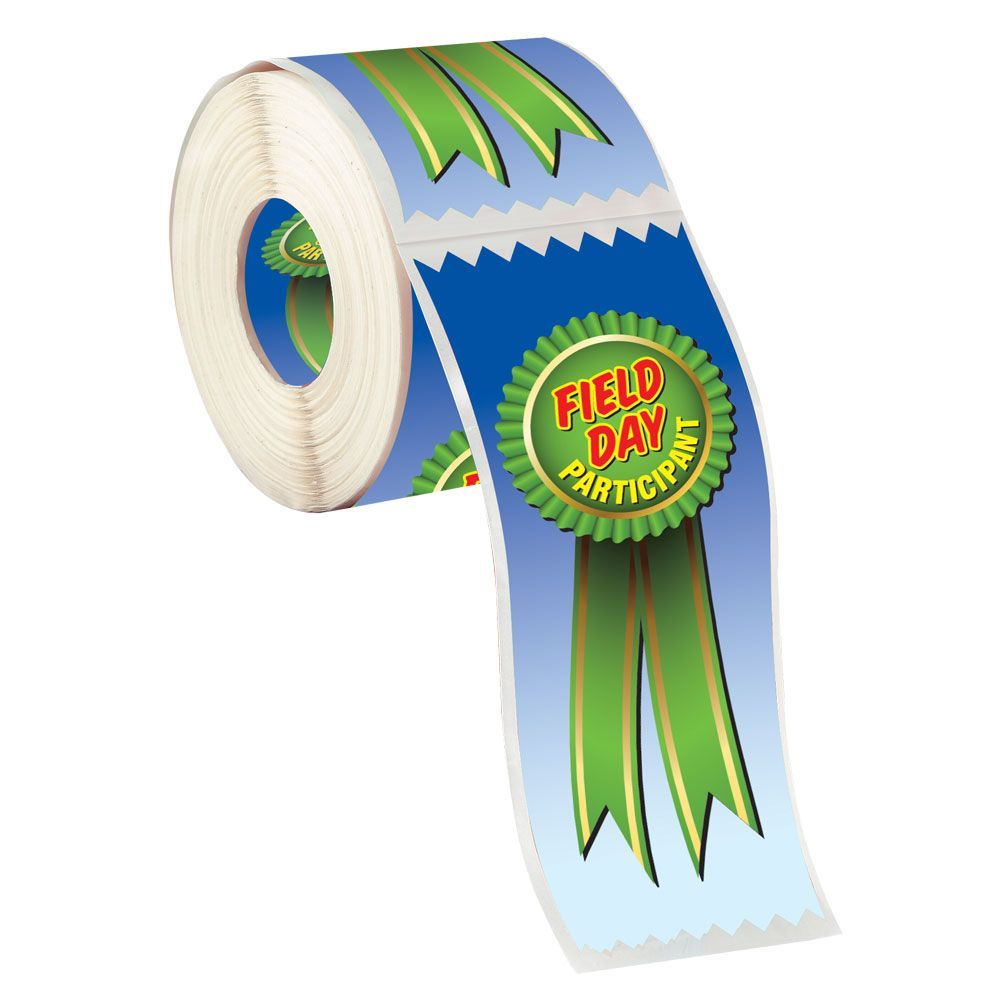 Field Day Participant Rosette Ribbon Shaped Stickers On-A-Roll