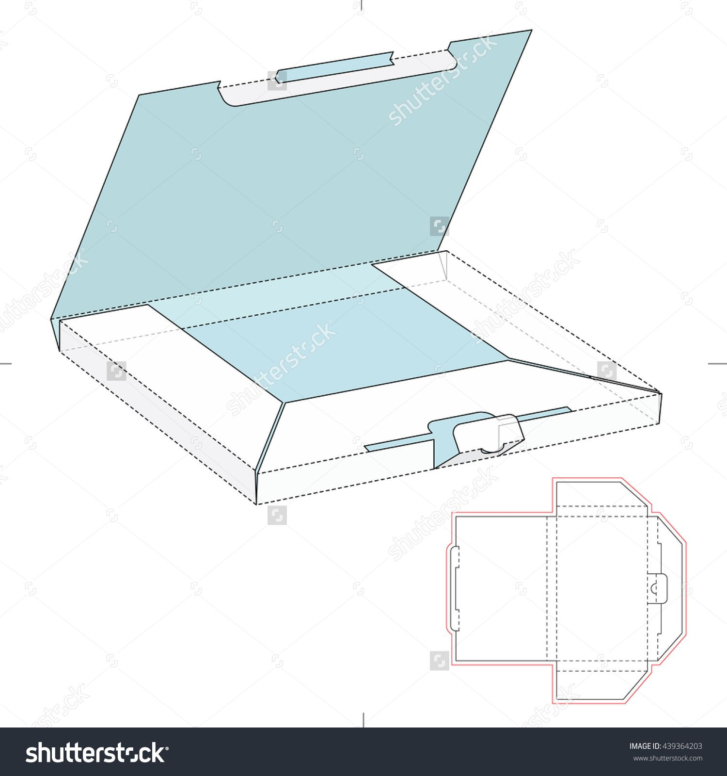 Mailer Box With Blueprint Template Stock Vector Illustration 439364203 : Shutterstock