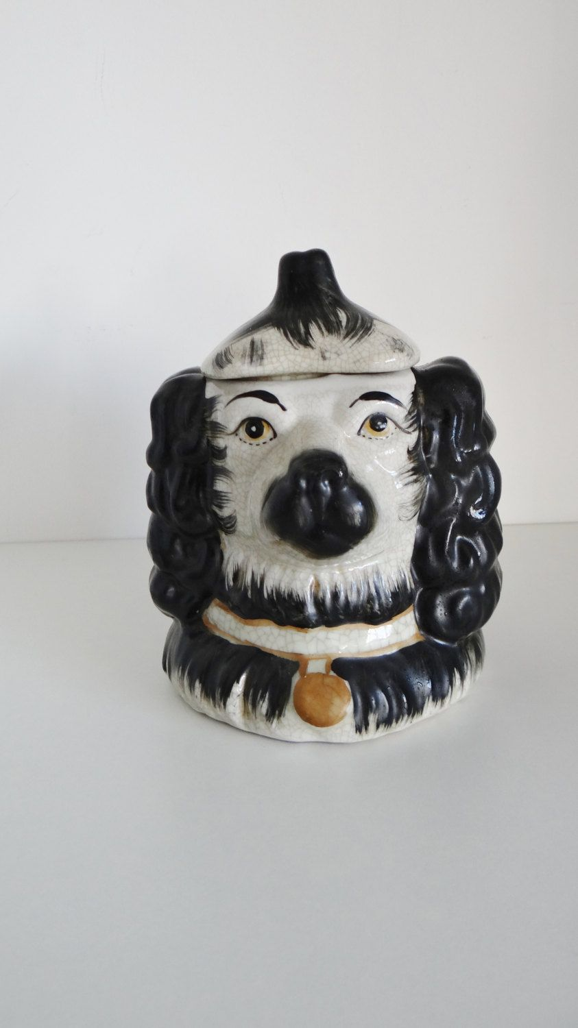 Vintage Staffordshire Style King Charles Spaniel Double Faced Tobacco Jar Humidor Mid Century by crabtulip on Etsy https://www.etsy.com/listing/211534034/vintage-staffordshire-style-king-charles