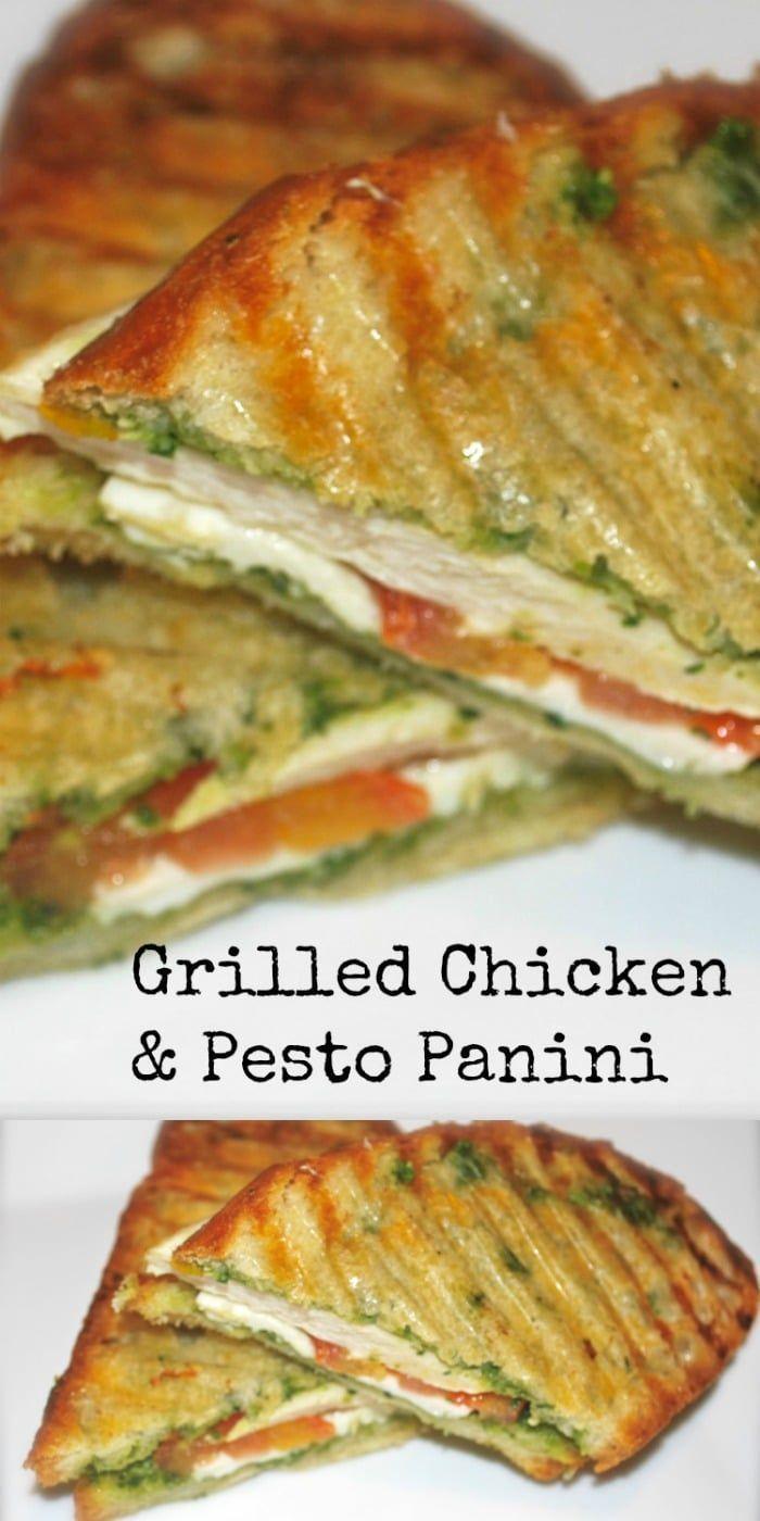 Panini au poulet grillé et au pesto - Boîte à lunch - #amp # Poulet grillé # Boîte à lunch # Panini