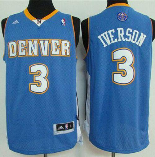 8449eda03 Nuggets  3 Allen Iverson Light Blue Stitched NBA Jersey