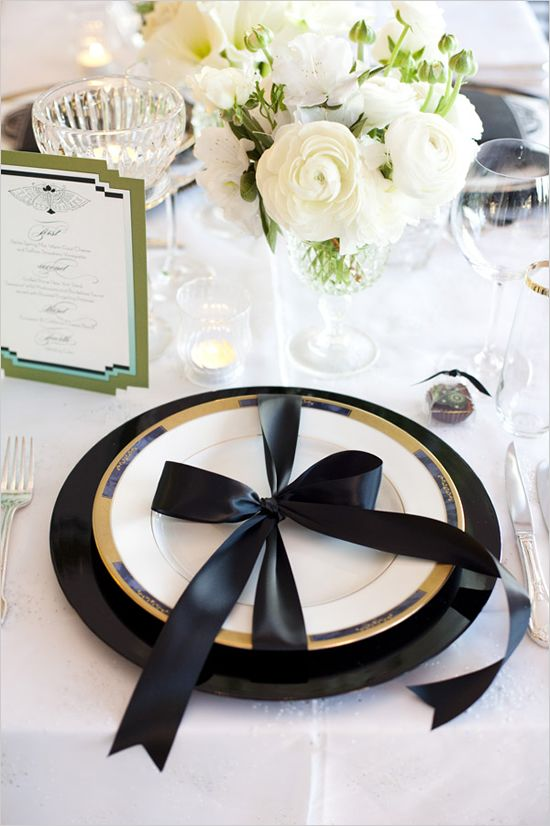 \ For a dramatic statement we tied on large black satin bows a la Chanel around each place setting to remind each guest that their presence was a gift.\  & Romantic Table Decor From Alchemy Fine Events \u0026 Isari Flower Studio ...