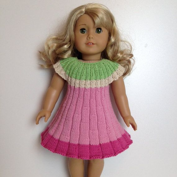 FLOWER dress Knitting Pattern 18 inch doll (059) | Puppenkleider ...