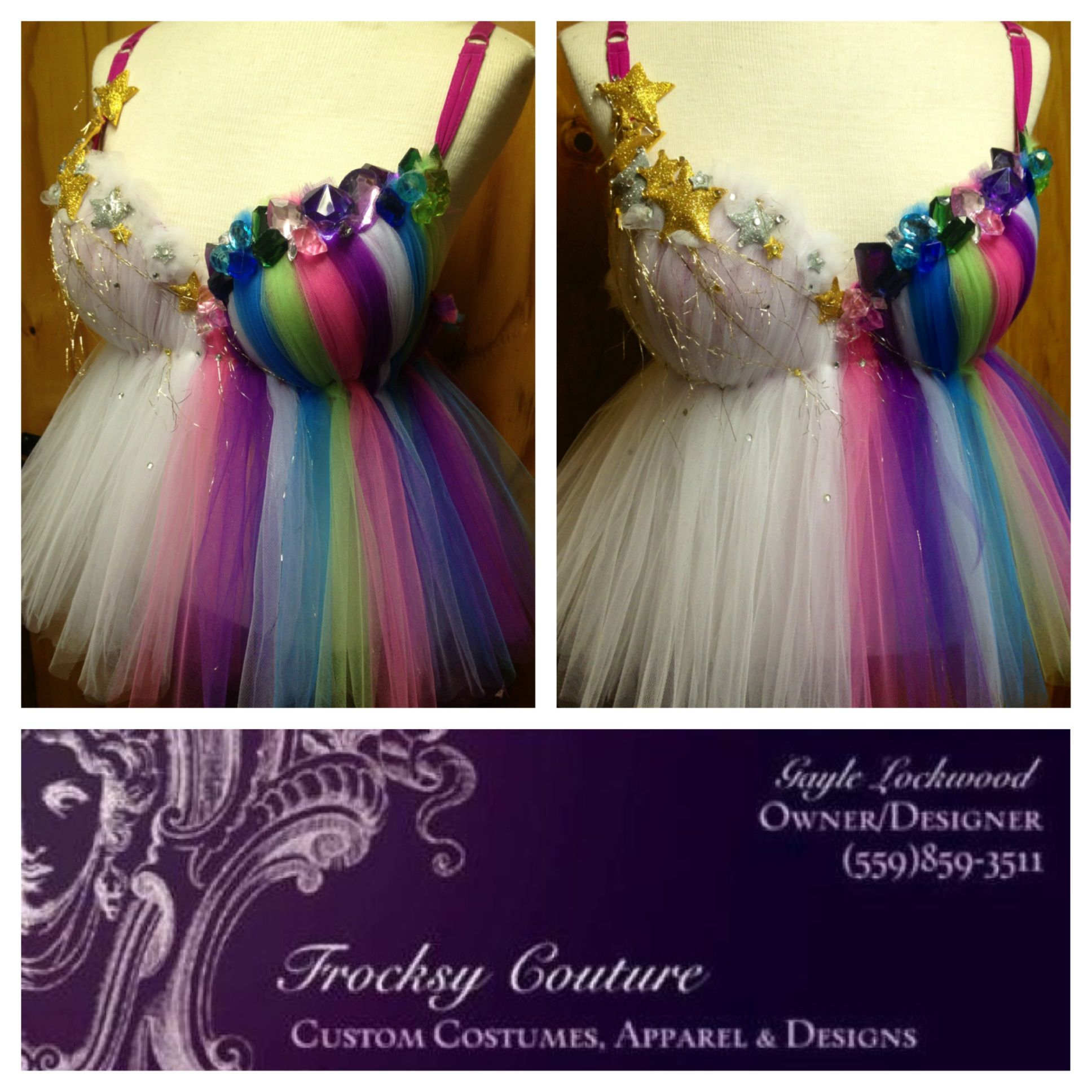Frocksy Couture Stary Rainbow Top Dance Rave Bra Costume Top For
