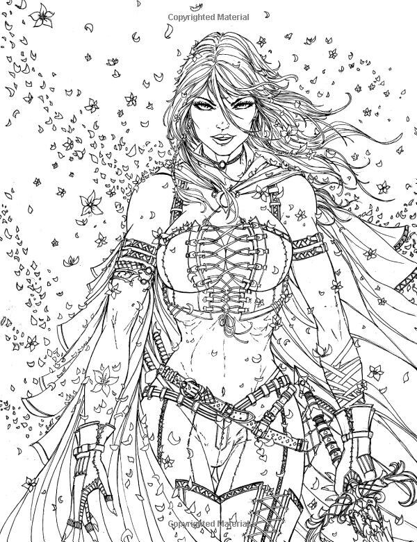 Fantasy Armored Woman Coloring Page Free Steampunk Coloring