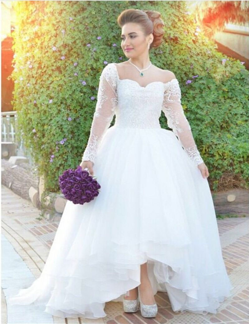 Click To Buy Elegant Sweetheart Off Shoulder Long Sleeve Wedding Dresses Lac Wedding Dresses High Low Long Sleeve Wedding Dress Lace Wedding Dresses Lace [ 1040 x 800 Pixel ]