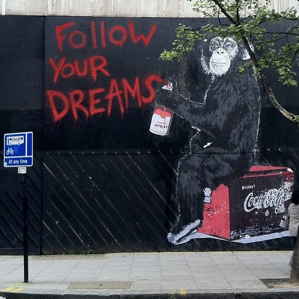 Follow your dreams mr brainwash instant nies de for Mural mr brainwash