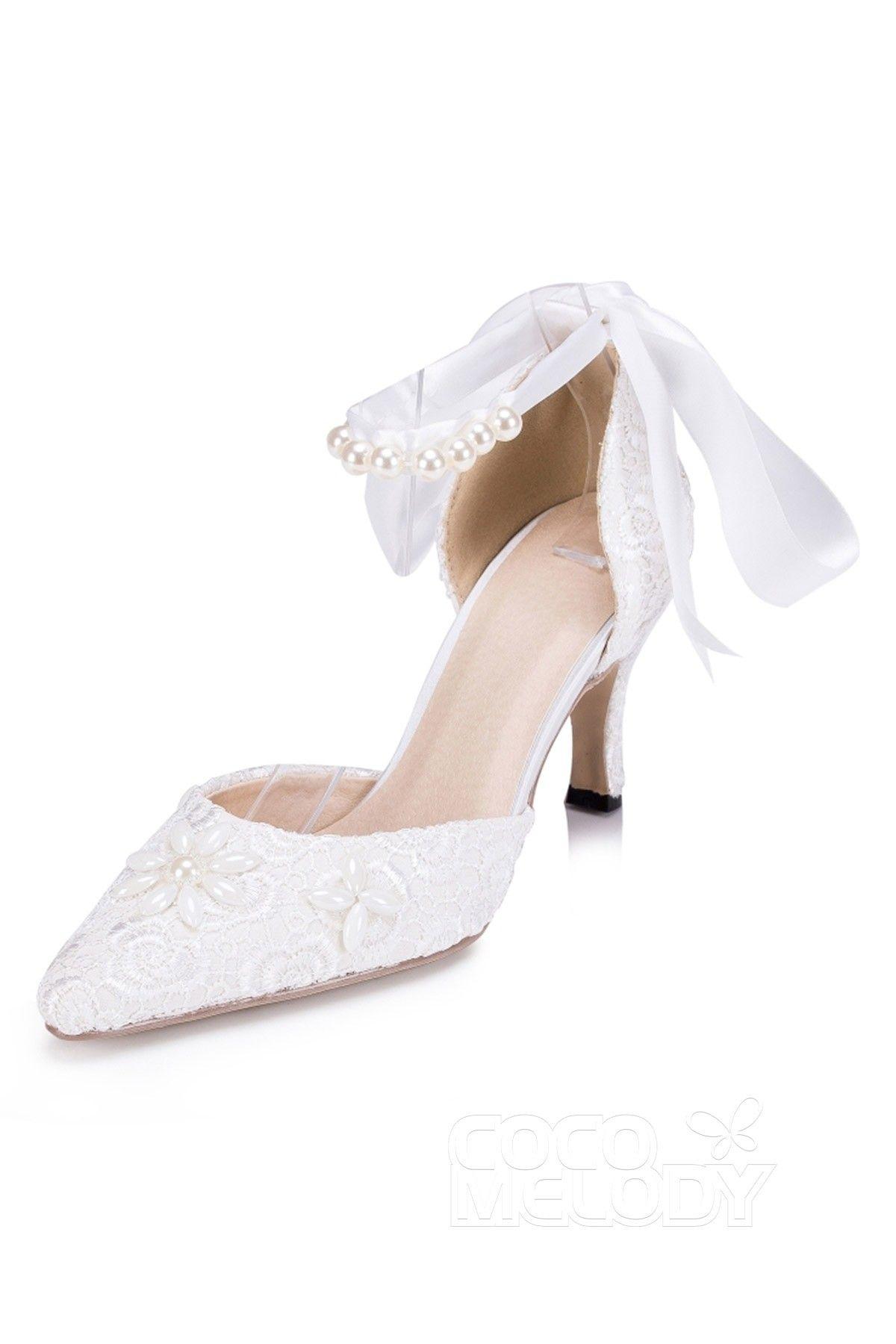 69ebe207ae65 Stiletto Heel 7.5cm Heel Lace Imitation Pearl Mary Jane Bridal Shoes  SWS16055  weddingshoes