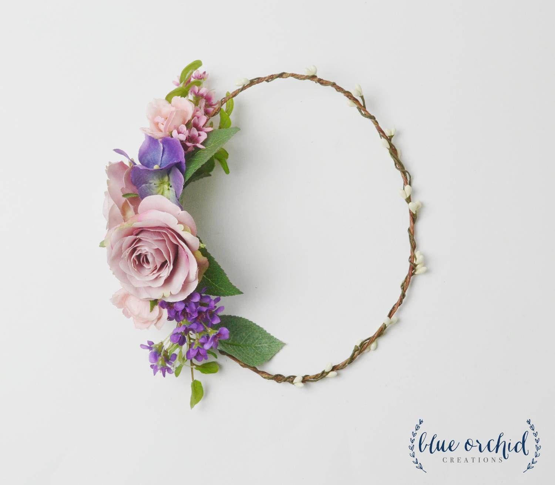 Flower Crown Purple Flower Crown Boho Wedding Boho Floral Crown