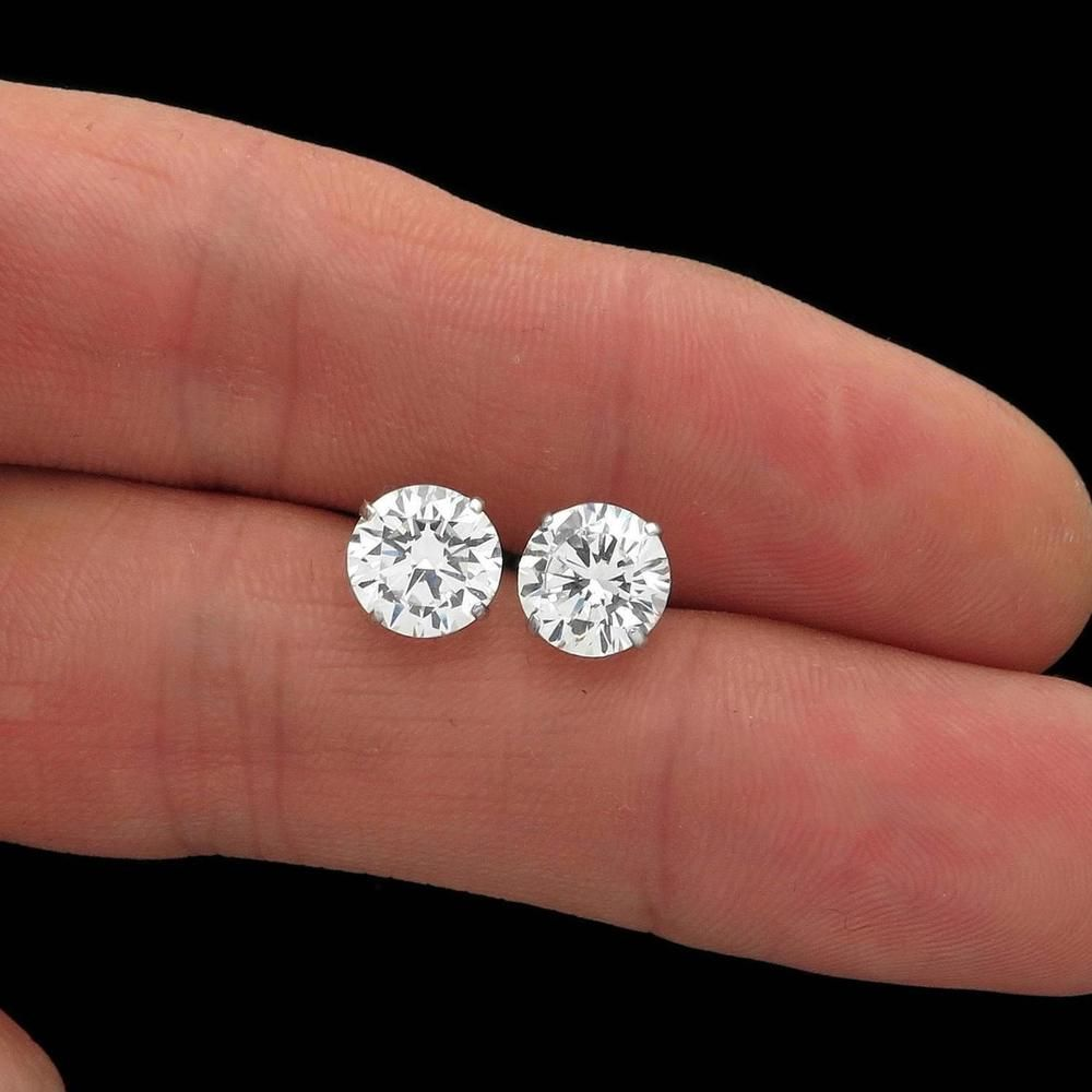6.5mm Solitaire 4 Prong Set Diamond Real 14k White Gold Stud Earrings Screw Back