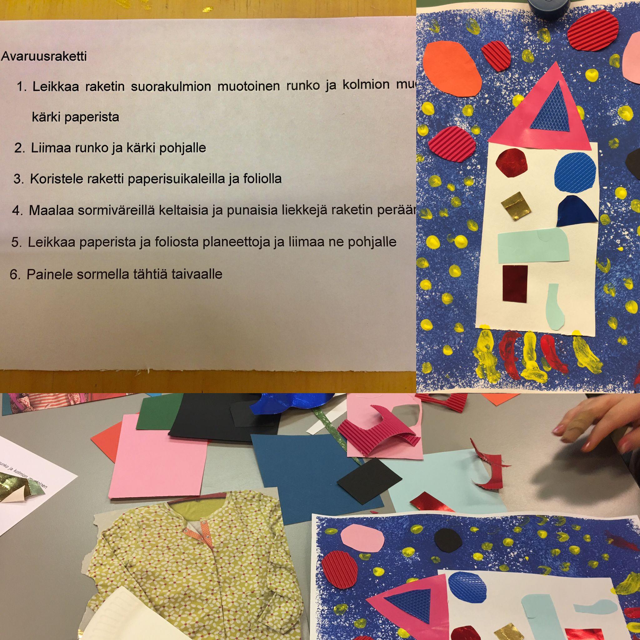Rakettityö luetun ymmärtämisenä. Lapsille varattiin erilaisia tarvikkeita työn toteuttamiseen. Ainoastaan tausta töpötettiin yhdessä valmiiksi. Työ myös kertaa matematiikan muotoja.